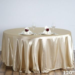 "Fancy Round Satin 120"" Champagne Tablecloth"
